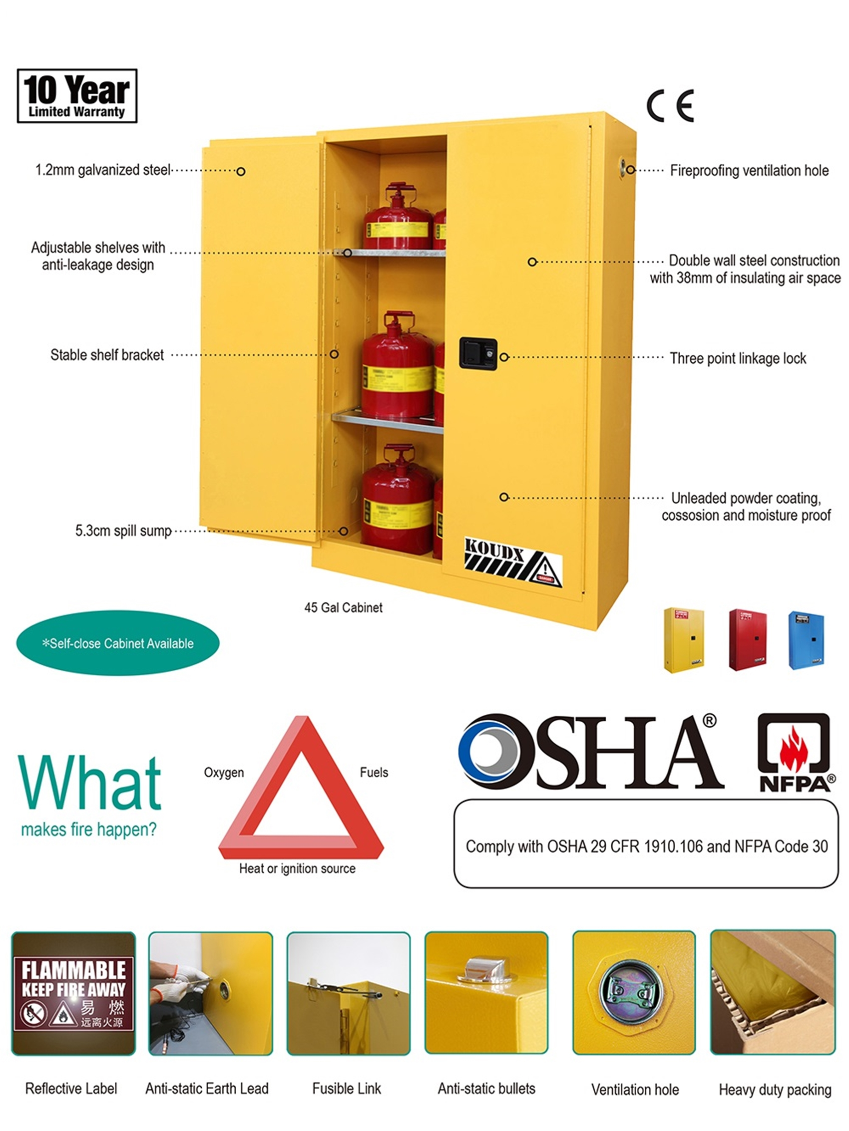 Flammable Cabinet Safety Storage Cabinet Meet Osha Standard